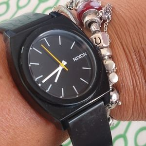 Nixon Black Rubber Time Teller Minimal Watch